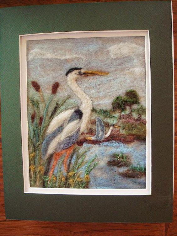 Needle felted art wool painting Great Blue by FeltedFantasies, $115.00