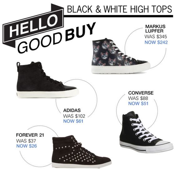 Hello Good Buy: Black and White High Tops by polyvore-editorial on Polyvore featuring adidas Originals, Markus Lupfer, Forever 21, Converse, HelloGoodBuy and blackandwhitehightops