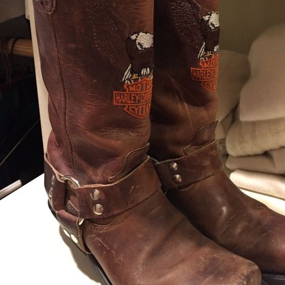 Vintage Harley Davidson Boots Distressed leather with side silver buckle Harley Davidson emblem on front of boots rubber sole. Never been worn. 3.1 Phillip Lim for Target Shoes Combat & Moto Boots