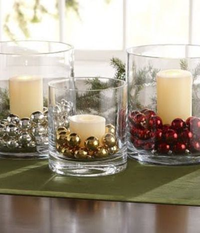 Christmas Decor Diy Glass Vases Candles Amp Jingle Bells