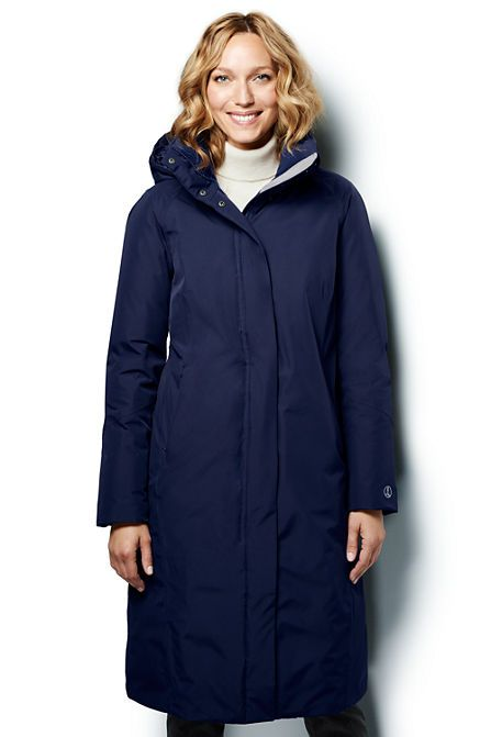 Women's Commuter Down Long Coat from Lands' End | long winter ...