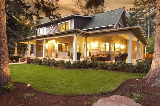 landscaping ideas for wrap around porches | Homes in Bend Oregon- Create your Home with Homeland Design LLC