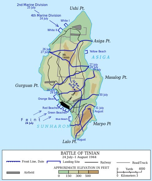 Map of the US-led invasion of the island of Tinian in the Northern Mariana Islands, constituting the en:Battle of Tinian (Battle of Tinian) in 1944