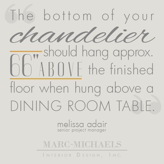 """The bottom of your chandelier should hang approximately 66"" above the finished floor when hung above a dining room table."""