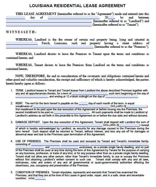Free Louisiana Residential Lease Agreement Pdf Template Lease Agreement Letter After Interview Lease