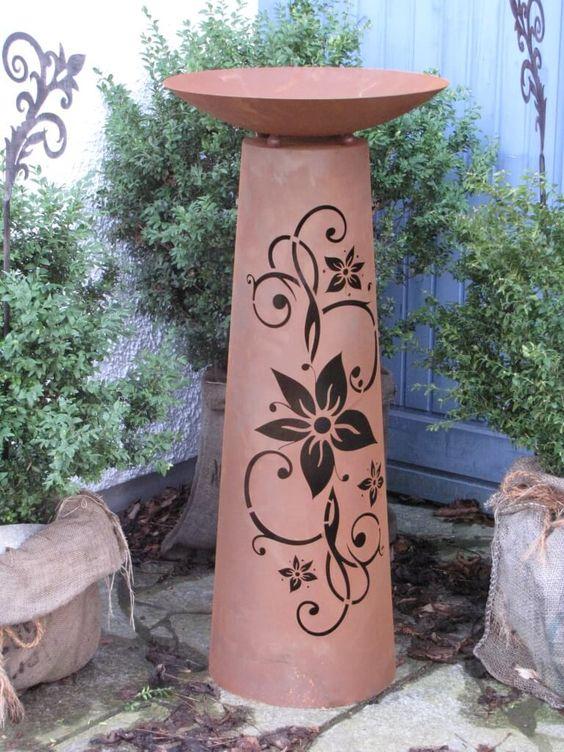 Edelrost Dekosäule Kegel Blüte inkl. Schale, groß