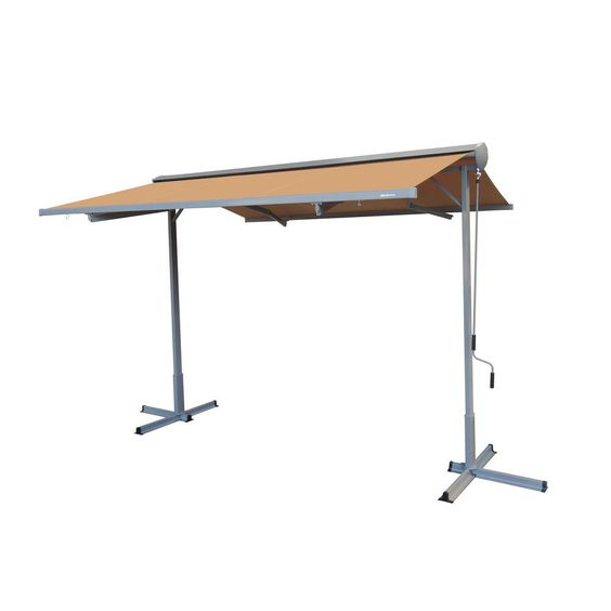 Advaning 14 Ft Fs Series Free Standing Semi Cassette Manual Retractable Patio Awning In Canvas Umber 10 Ft Projection Fs1410 A208h The Home Depot Patio Awning Polycarbonate Roof Panels Custom Awnings