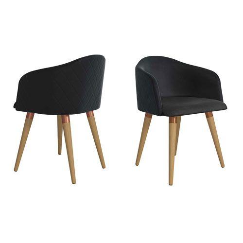 Manhattan Comfort 2 1020484 Kari Accent Chair Set Of 2 In Black