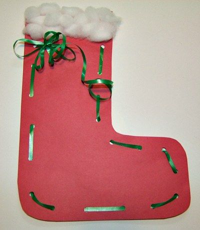 Christmas stocking lacing craft from kiboomu kids for Stocking crafts for toddlers