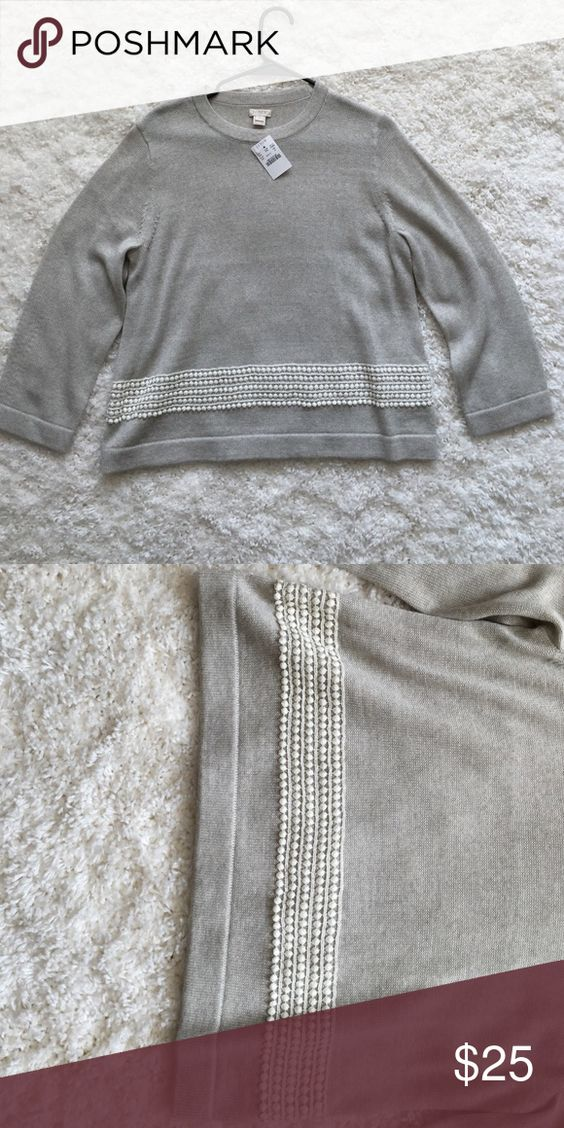 J. Crew sweater with lace embroidery Gray J. Crew sweater with 3/4 sleeves. Has cream colored lace embroidered across the bottom. Very comfy material J. Crew Factory Tops