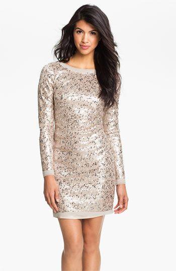 Eliza J Long Sleeve V-Back Sequin Sheath Dress  Pretty Things to ...