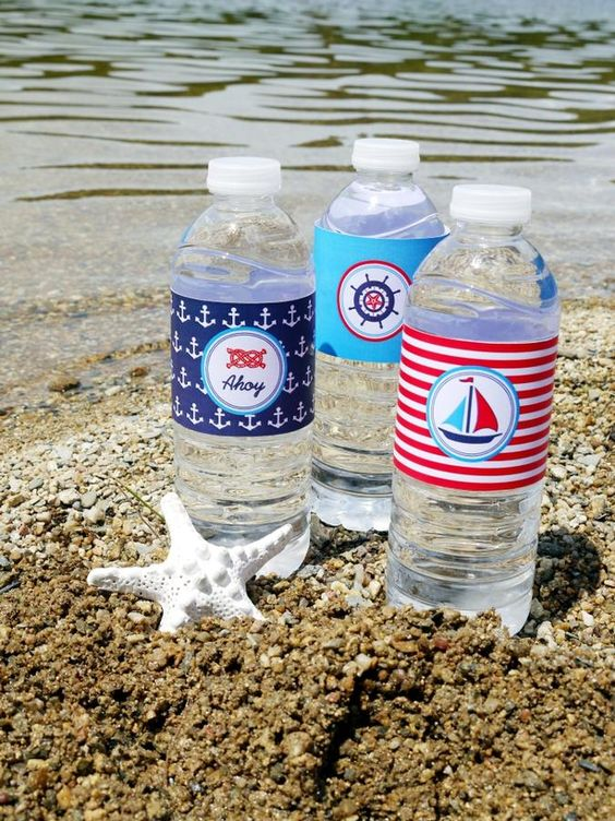 Nautical/beach themed water bottles...great for any event!--time for a beach day--www.floridabeachbums.com