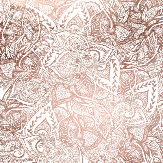 Chic hand drawn rose gold floral mandala pattern prints for Gold wallpaper designs
