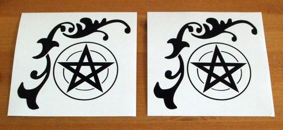 Floral Pentacle   Set of 2 Vinyl Decals  Wicca  by TheWitcheryCove, £2.35