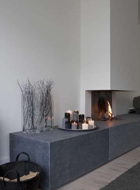 Open haard landelijk decoreren pinterest industrieel betonnen interieurs en moderne - Open haard moderne ...
