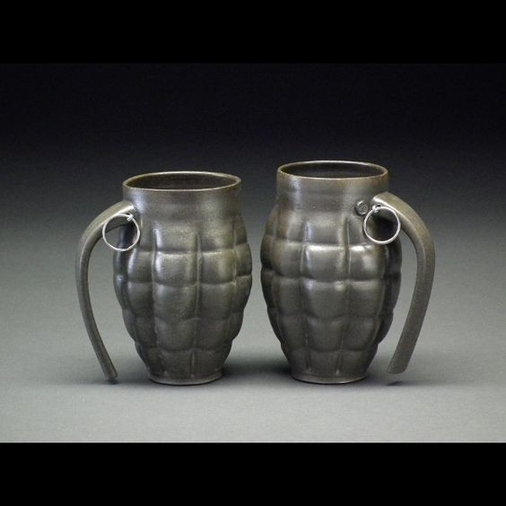 "Grenade Ceramic Mugs by Beer's Pottery. We also carry his whistle mugs and goblets that contain a bell (""More beer, please!) mtcontempo.com"
