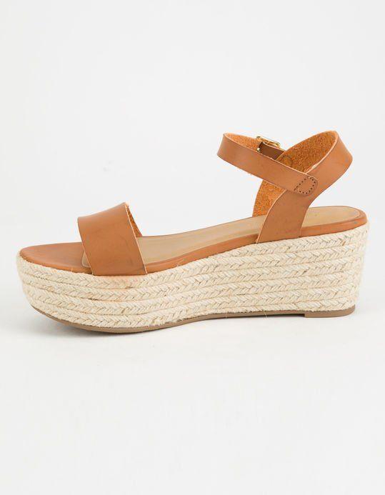 Ankle strap heels, Tan platform sandals