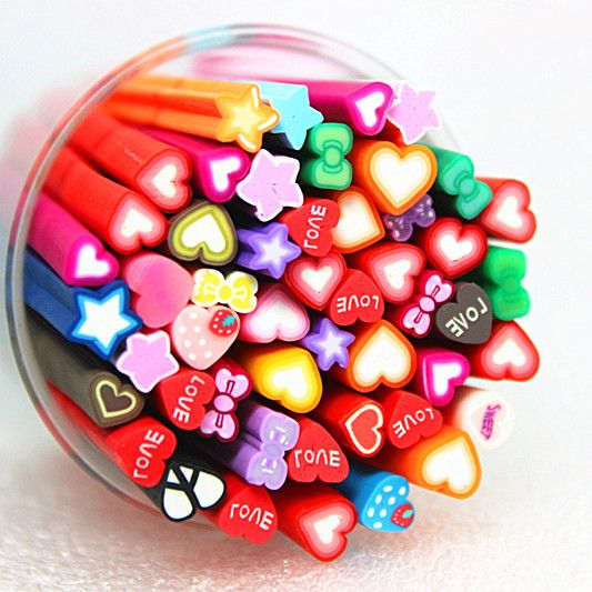 free shipping 50pcs Nail Art Fimo cute heart and bow Canes Rods Sticks nail Tips Decoration Also for Mp3 Phone PC US $4.89: