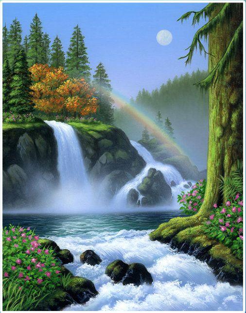 Rainbow Waterfall Painting Jpg 506 644 Waterfall Paintings
