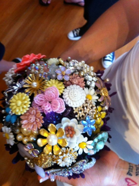 Jennifer shopped antique stores for a year leading up to her wedding to create this beautiful bouquet!