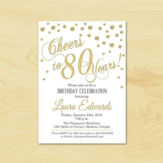 80th Birthday Invitation / Any Age / Gold White Invite / Cheers to 80 Years / Printable Invitation