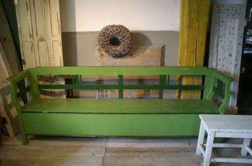 Antieke groene klepbank, 252 cm