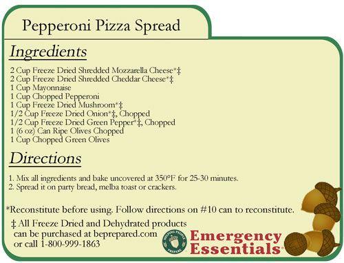 Pepperoni Pizza Spread-food storage | Food Storage & Emergency ...