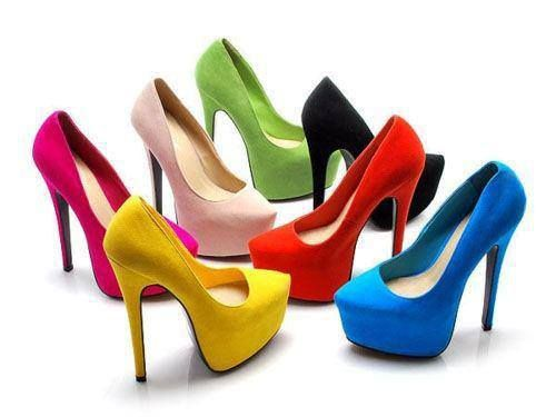 high heels shoes in diffrent color: