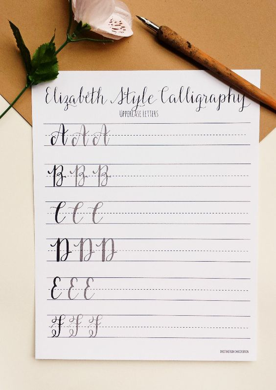 Modern Calligraphy Practice Worksheets | Uppercase Letters ...