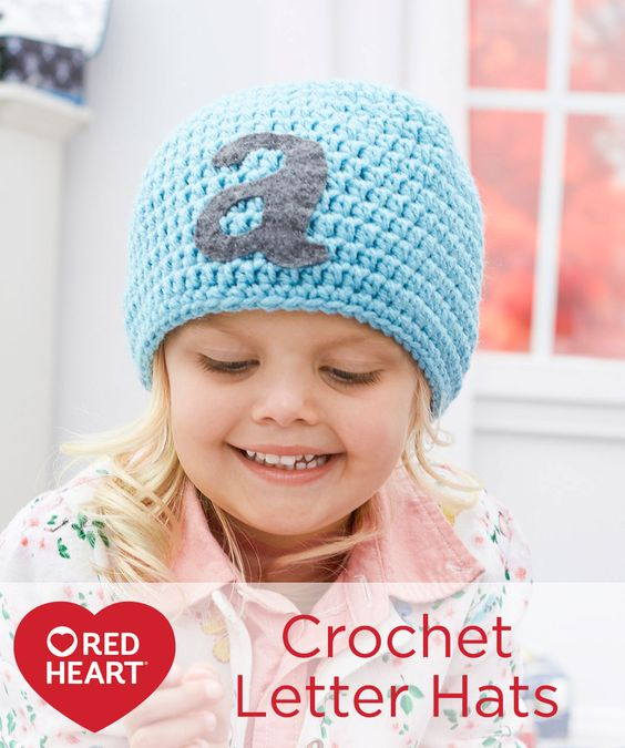 Crocheting Letters Into A Hat : Crochet Letter Hats Free Crochet Pattern in Red Heart Yarns -- Crochet ...