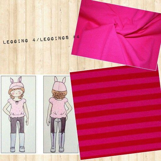 Legging 4: Dressage Legging de Jennuine Desings en jerseys rose uni et rayé rose et rouge./Leggings #4: Jennuine Designs Dressage Legging in solid pink and red and pink stripped jersey.