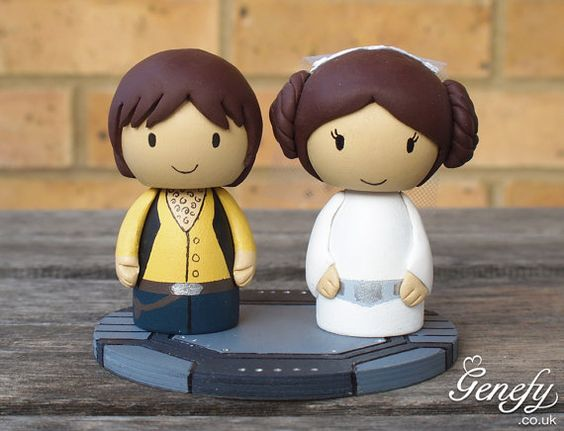 STAR WARS wedding cake topper: Leia and Han Solo