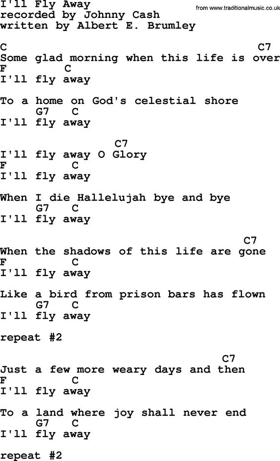 Johnny Cash song I'll Fly Away, lyrics and chords | music | Pinterest