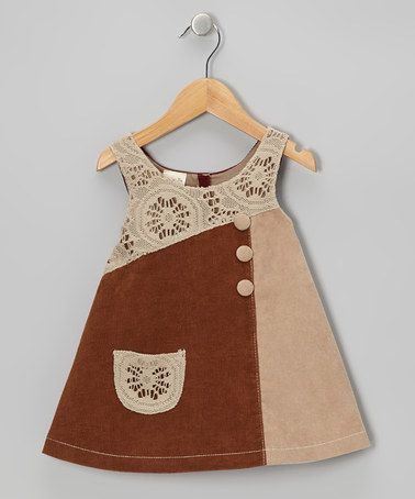 Brown Crocheted Corduroy Dress - Toddler & Girls: