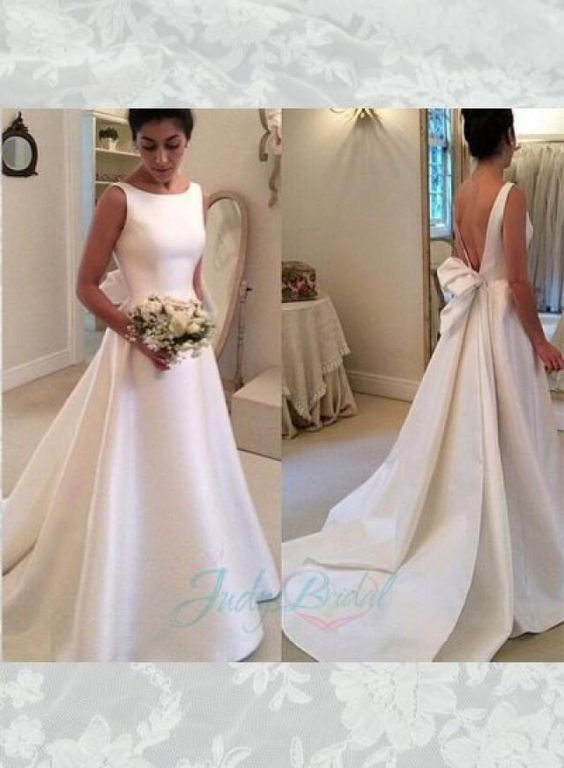 Simple but chic ivory satin v shape low back bridal gown for Satin low back wedding dress