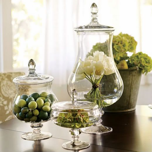 Apothecary jars, always looking for something new to fill them with!  I like the bouquet of flowers and different natural items of the same color scheme.