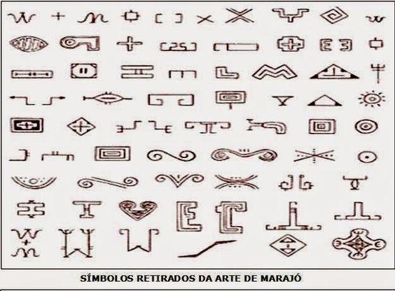 Ancient symbols,marajoara pottery,400/1400 AC: