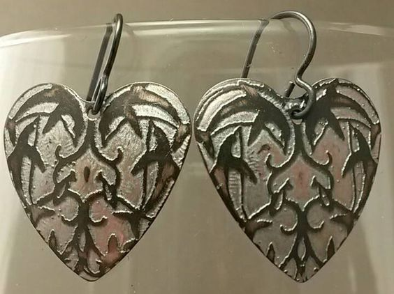 Valentine Hearts Etched Swimming Dolphin Earrings by rizingemstar on Etsy