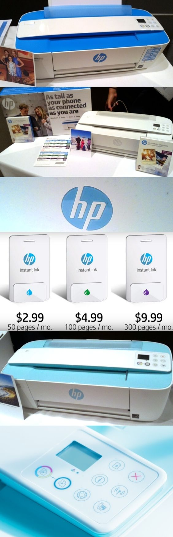 The HP DeskJet 3755 wireless inkjet printer, billed as the world's smallest all-in-one, measures just 16.7 by 7 by 5.4 inches (WDH). It has a motorized sheet scanner instead of a glass panel for scanning docs and comes in Electric Blue, Sea Grass Green or Stone. The $70 unit can be managed with free apps and the optional @hewlettpackard Instant Ink program ($2.99 to $9.99/mo. based on pages) guarantees that users won't run out of ink: The unit alerts HP as the ink supply runs low…