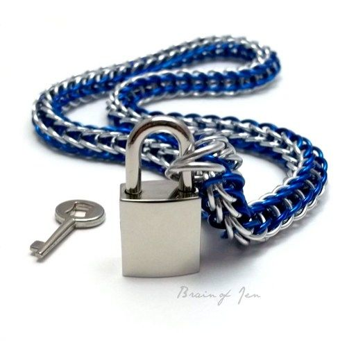 Cobalt Blue and Silver Mens Chainmail Locking Collar w. Chrome Padlock | BrainofJen - Jewelry on ArtFire