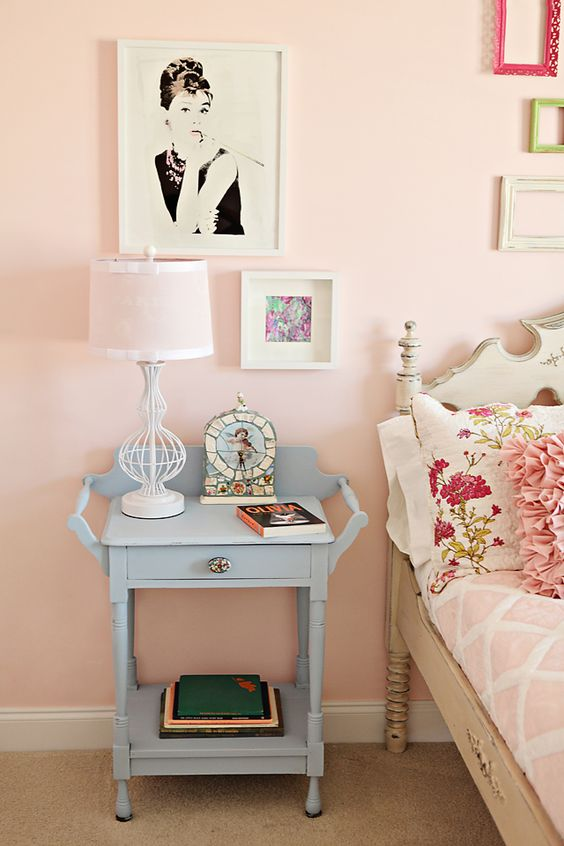 Lovely soft pink paint. Sherwin Williams Pink Chablis. Wall room nursery infant baby light pale sweet girly: