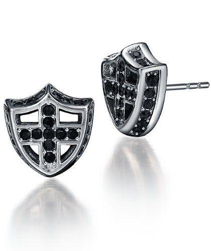 Arco Iris Jewelry – Joya hecha de acero inoxidable Pendientes con detalle hecho de Zirconia Cúbica – en forma de Cruz – Talla  #CruzTalla #CruzTalla
