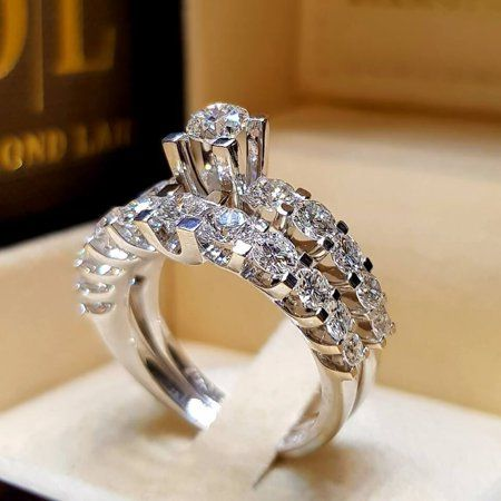 Bliss Luxury Crystal Big Zircon Stone Fashion Bridal Wedding Ring Set Walmart Com In 2021 Diamond Engagement Wedding Ring Engagement Ring Types Wedding Rings Engagement