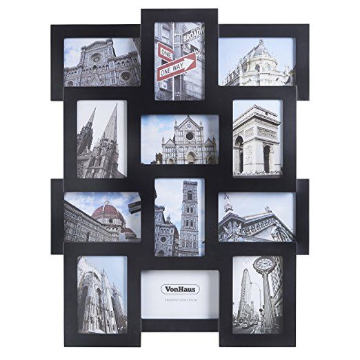 Vonhaus 12 X Decorative Collage Picture Frames For Multiple 4x6 Photos Black Wooden Hanging Wall Phot Collage Picture Frames Picture Frames Photo Frame Wall