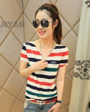 TC001718 Colors slim T-shirt Korean style bottoming shirt