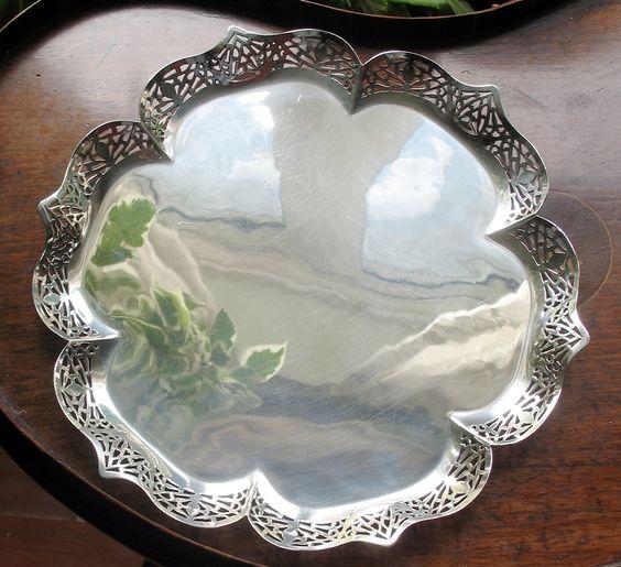 Antique Silver Plate : A Moorish design pierced Tray by JOHN BISHOP CHATTERLEY