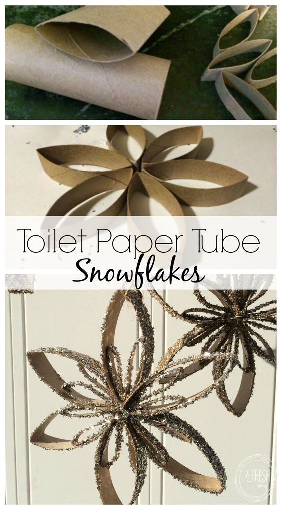 Toilet paper tube snowflake ornaments for Snowflake out of toilet paper rolls