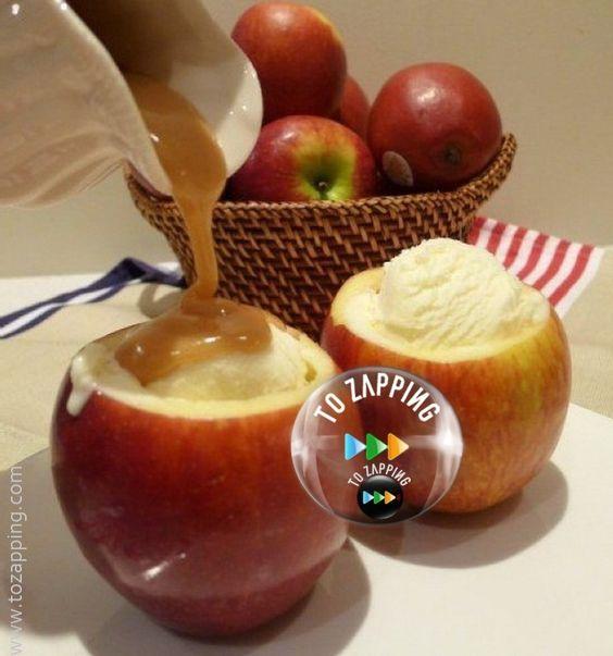 Manzanas rellenas de helado y caramelo.Unas de las frutas más utilizadas en las…