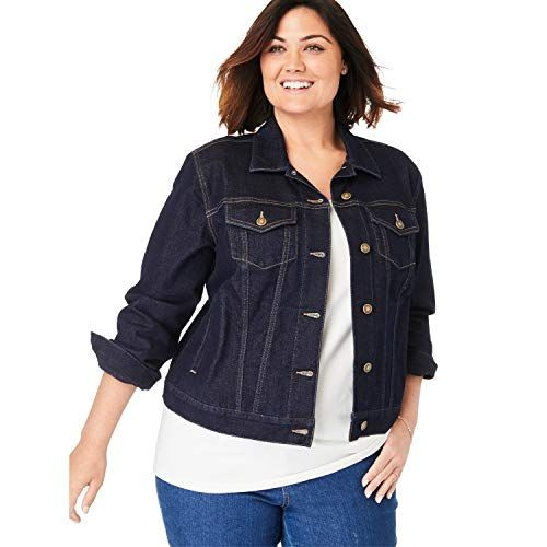 Woman Within Womens Plus Size Denim Jacket