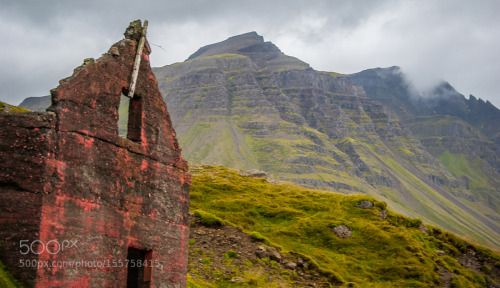Abandoned by _Neo_World_  red water house green mountain abandoned ice verde casa rojo abandonada Iceland montaña Island Islan